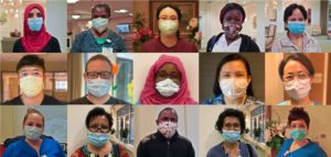 a collage of 15 photos. Each photo shows a nursing staff member wearing a face mask